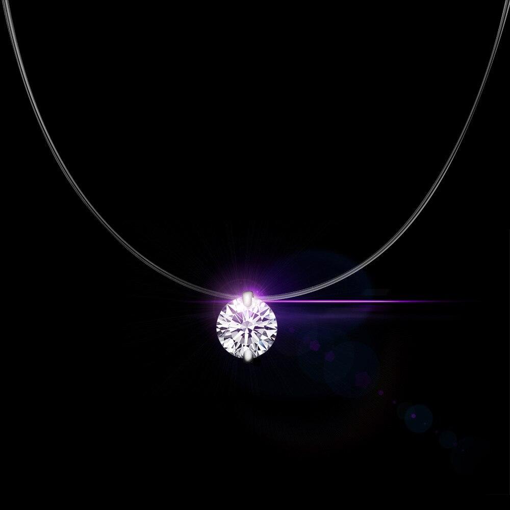 Qcooljly серебро Цвет Ослепительная Циркон Цепочки и ожерелья и невидимый прозрачный Рыбалка линии простой кулон Цепочки и ожерелья украшения для Для женщин