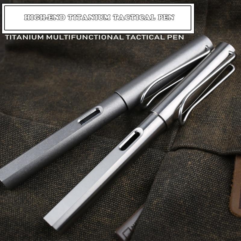 High-End 2-IN-1 Titanium TC4 Tactical Fountain Pen Self Defense Business Writing Pen Outdoor EDC Tool Christmas Gift