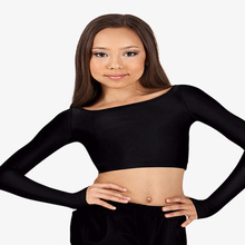 ICOSTUMES Girls  Black Tight Crop Top long Sleeve Lady Ballet Dance Tops Womans Cropped Gymnastics Bodysuit