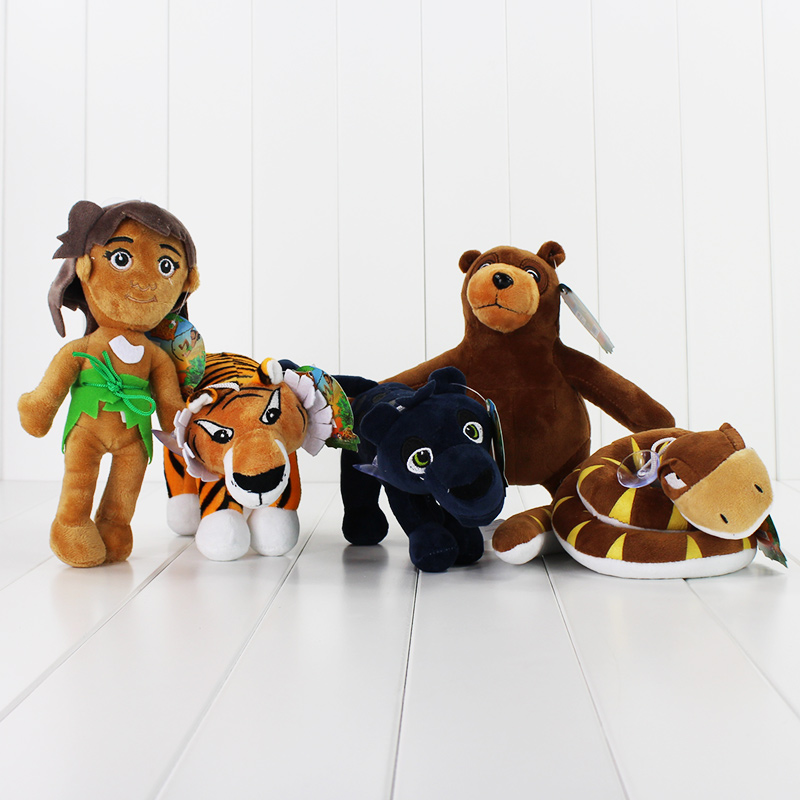 5pcs/lot The Jungle Book Plush Toys Mowgli Tiger Snake Bear Leopard Stuffed Doll Animal Pendants Toy Free Shipping