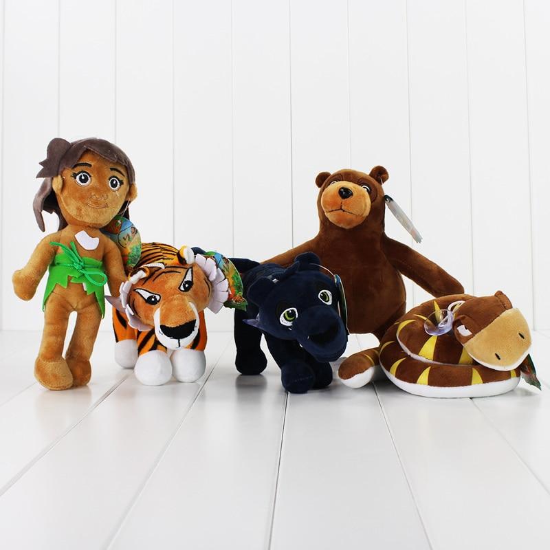 5pcs/lot The Jungle Book Plush Toys Mowgli Tiger Snake Bear Leopard Stuffed Doll Animal Pendants Toy Free Shipping