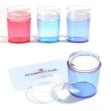 1 conjunto de modelos da arte do prego geléia silicone prego placa de carimbo raspador com tampa azul vermelho roxo glitter selo manicure ferramentas tr1031