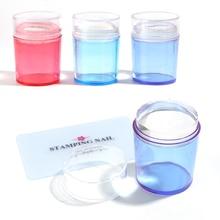 1 ensemble doutils de manucure pour Nail Art, grattoir à paillettes, plaque destampage pour les ongles avec capuchon, bleu, rouge, violet, TR1031