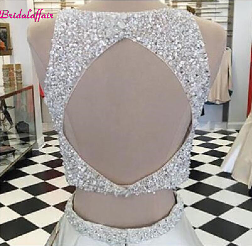 vestido formatura Beautiful 2019 Hot Long Silver Two Piece Prom Dress Women Bead Satin Formal Evening Party Gown Free shipping