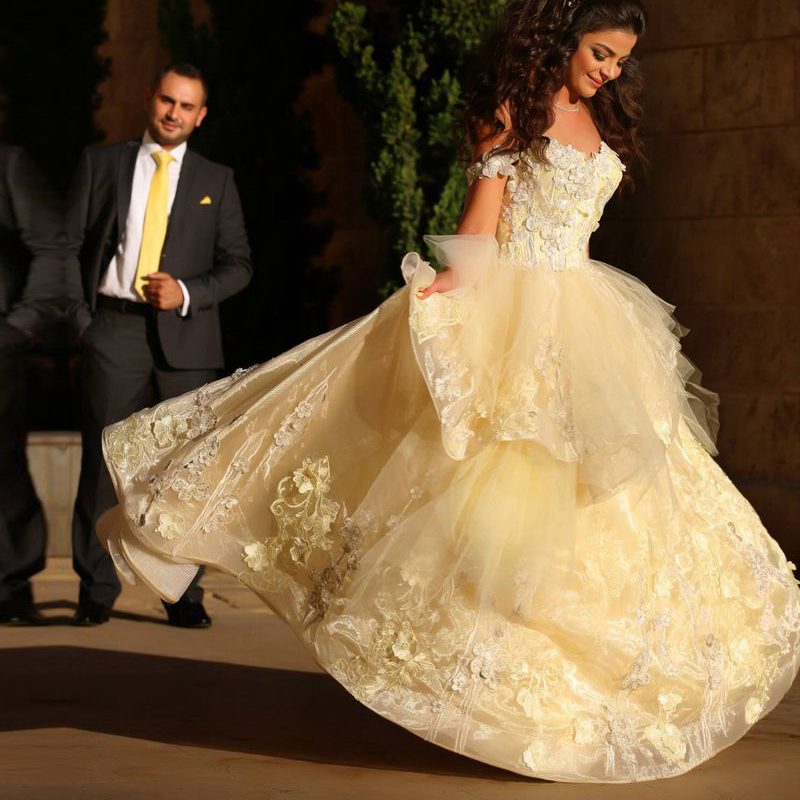 2016 saudi arabia style ball gown prom dress elegant light for Yellow wedding dresses for sale