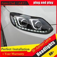 Auto Clud Style LED Head Lamp for Ford Focus 3 led headlights 2012 2014 cob signal led drl H7 hid Bi Xenon Lens low beam