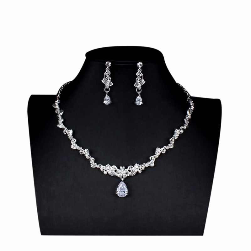 jiayijiaduo Wedding Jewelry Set Exquisite Zircon Crystal Necklace Earrings Set for Women's Dresses Accessories Gift Silver Color