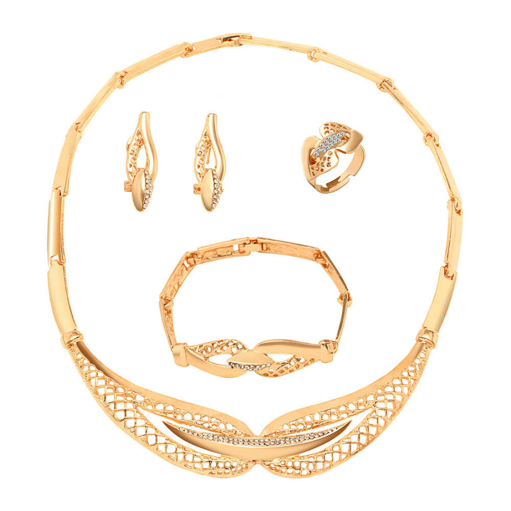 Incredibile prezzo Dubai Set di Gioielli di Cristallo del Braccialetto Della Collana Anello Orecchini Beads Africani Nigeriano monili di Cerimonia Nuziale Del Partito Delle Donne Gioelleria Raffinata E Alla Moda Set