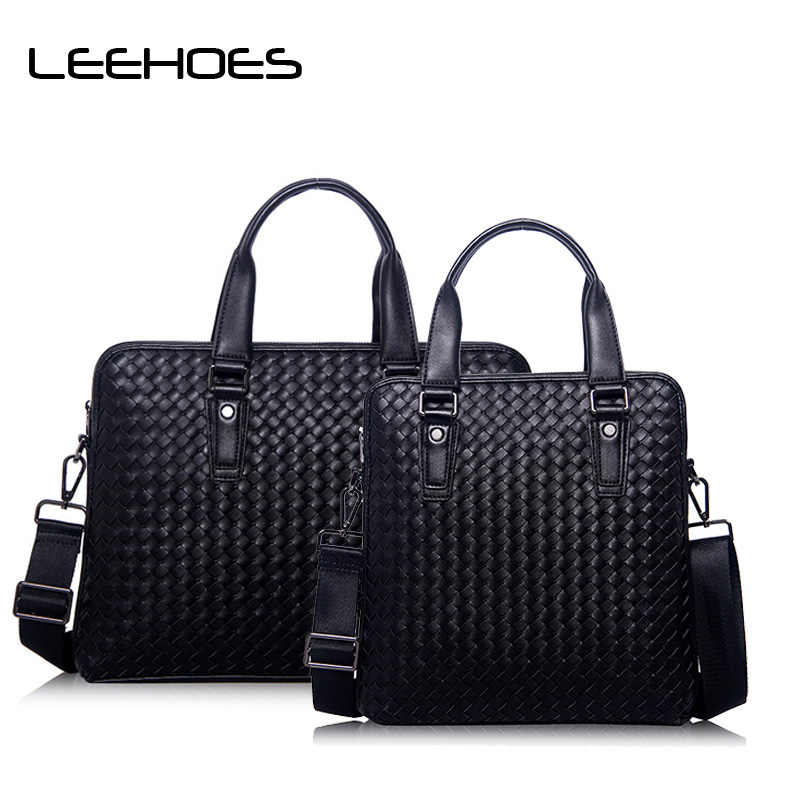 Handmade Woven Men Bags Business Computer Briefcase 14 Inch Laptop Messenger Bag Casual Travel Handbag Fashion CrossBody for Men new high quality leather men laptop briefcase bag 14 inch computer bags handbag business bag fashion laptop handbag for men