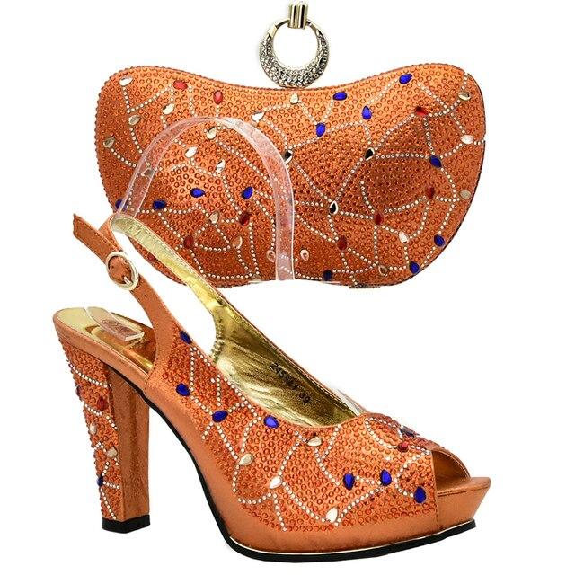 4b8973b5c Mais recente Projeto Cor Laranja Sapato e Bolsa Italiana Conjunto Decorado  com Strass Sapatos de Casamento