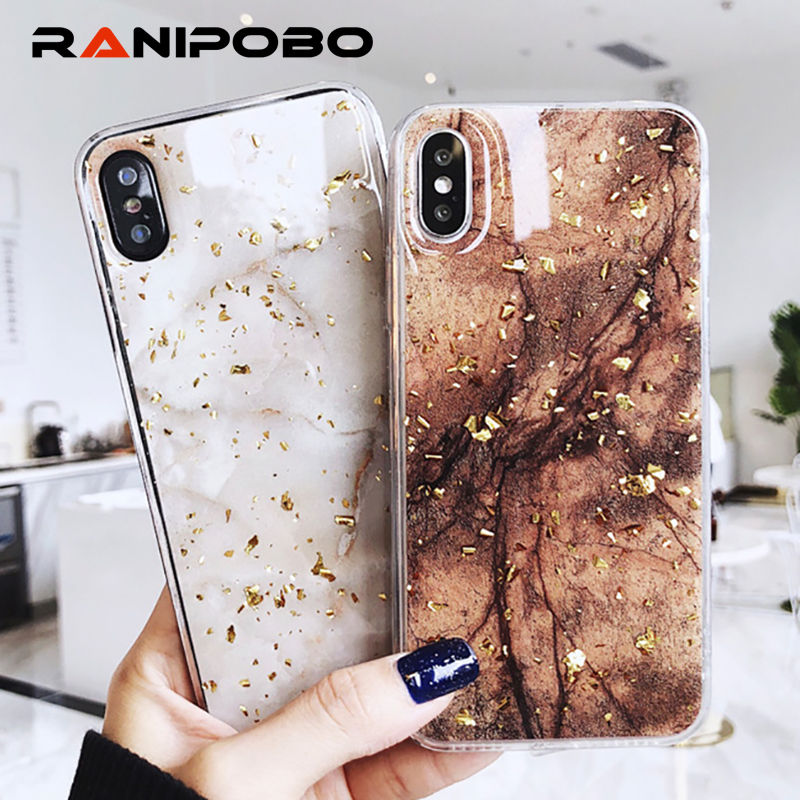 Fashion Gold Foil Bling Marble Phone Cases For iPhone X 6 6S Plus 7 7Plus 8 8Plu