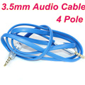 BrankBass 4 Pole 3.5mm jack macho a macho cable de audio plana aux cable para el coche/PM4 PM3/auriculares aux cable