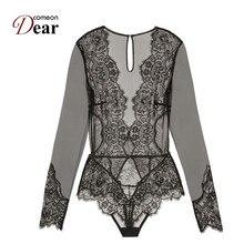 Comeondear Women Ladies Clubwear V neck Playsuit Bodycon Bodysuit Long Lace Sleeve Plus Size Transparent Lace Bodysuit RK80400