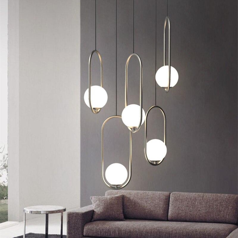 American Creative Glass Ball Pendant Lights Iron Hoop Hang Lamp for Bedroom Cafe Restaurant Bar Indoor Lighting Fixtures Decor Pendant Lights Lights & Lighting - title=