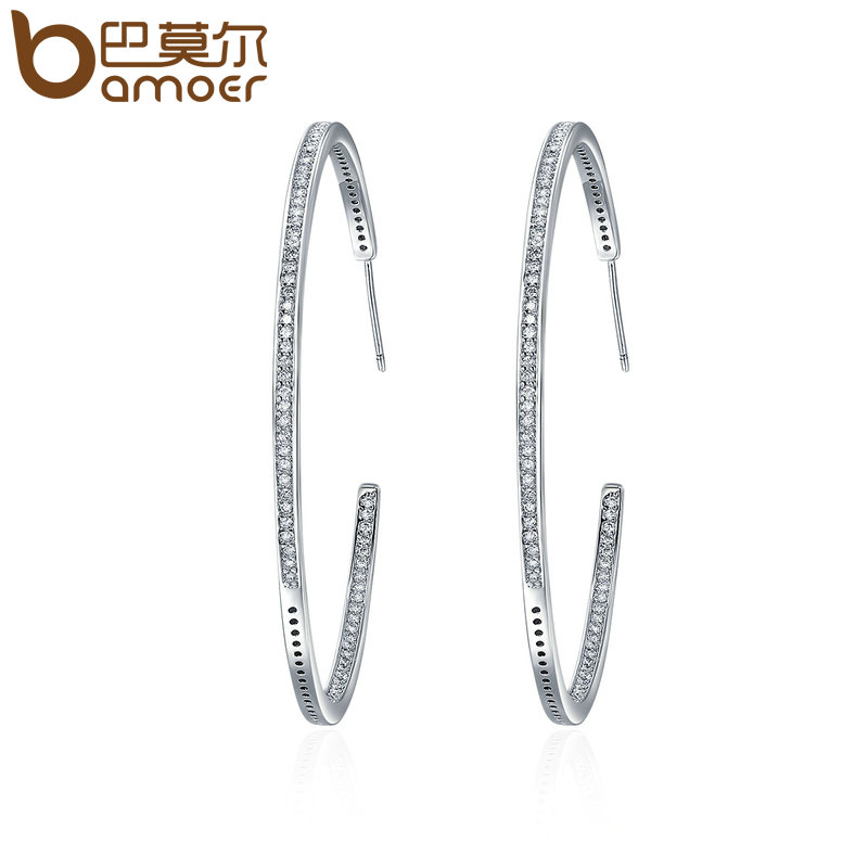 BAMOER New Collection Silver Color Luminous Clear CZ Circle Hoop Earrings for Women Fashion Earrings Jewelry Gift YIE115 personality women creole earrings fashion jewelry silver small circle hoop earing set of 9 pairs bijoux statement hoop earrings