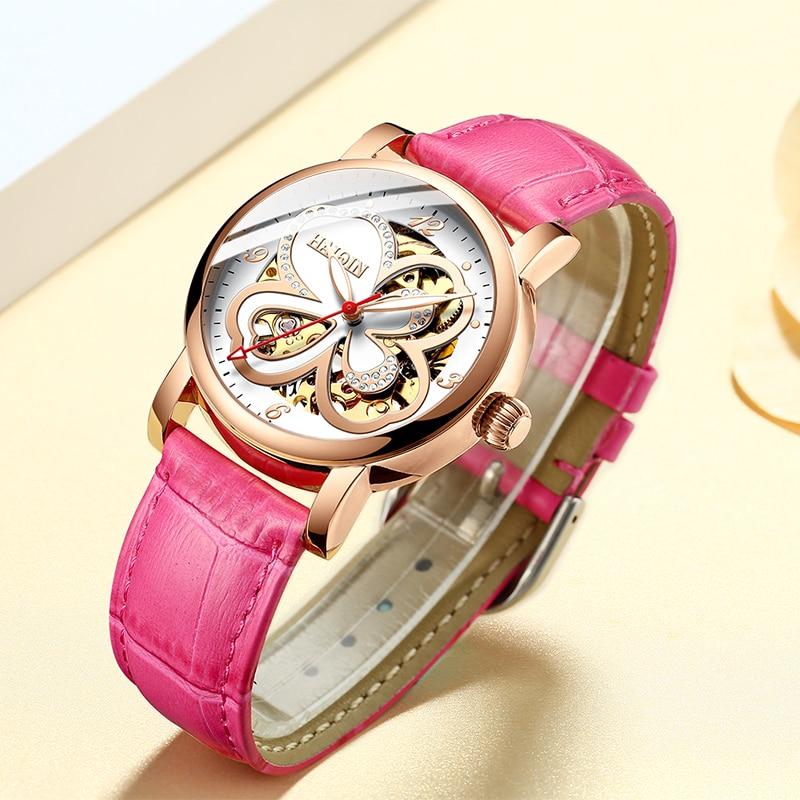 HAIQIN femmes montres femmes montres top marque de luxe dames/poignet/sport montre mécanique montre lerther creux relogio feminino-in Montres femme from Montres    3