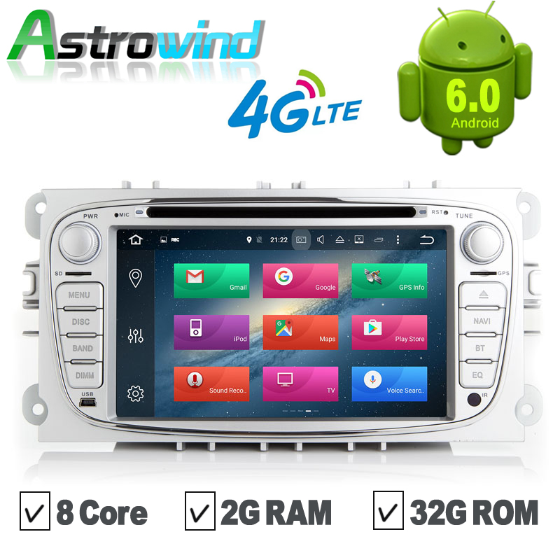 8 Core,2G RAM,32G ROM,Android 6.0 GPS Navigation System DVD Player Radio For Ford Focus C-MAX S-Max Galaxy Mondeo Galaxy Kuga