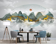 beibehang Customized new Chinese landscape line fashion elk tree leaves TV background papel de parede 3d wallpaper papier peint