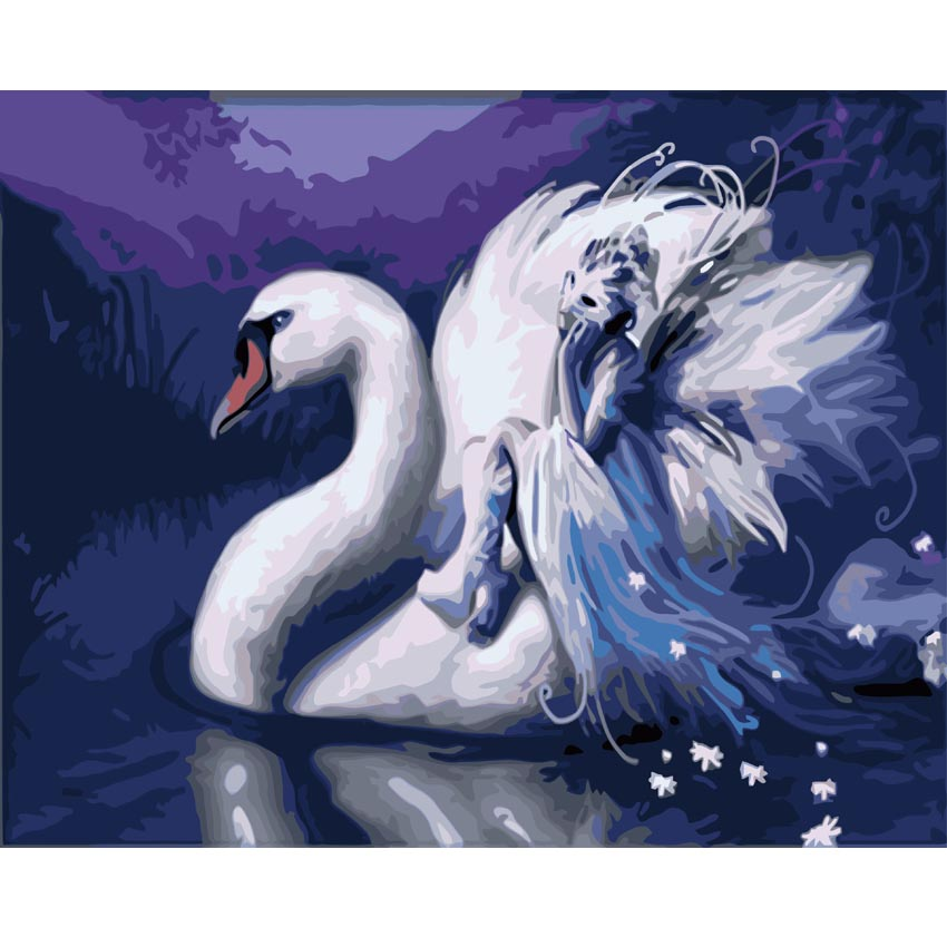 MYT White Swan In River Pictures By Numbers Modern DIY Painting Handwork On Canvas Oil P ...