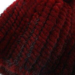 Image 5 - מכירה לוהטת אמיתי מינק פרווה כובע נשים החורף סרוגים מינק פרווה בימס כובע עם שועל פרווה פום Poms בעבודת יד חדש עבה נקבת כובע פרווה כובע