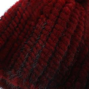 Image 5 - Sıcak satış gerçek vizon kürk şapka kadınlar kış örme vizon kürk kasketleri kap tilki kürk Pom Poms ile el yapımı yeni kalın kadın kap kürk şapka