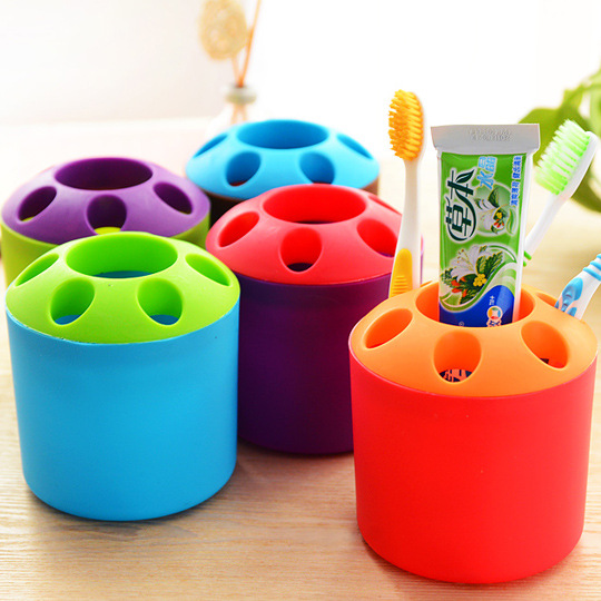 New Multicolor Toothbrush Toothpaste Holder Cup Glass Pot Pen Holder Container image
