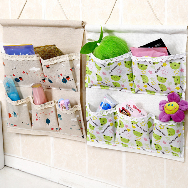 Home 5 Pockets Cotton Fabric Hanging Storage Bag 42.5*34cm Free Shipping