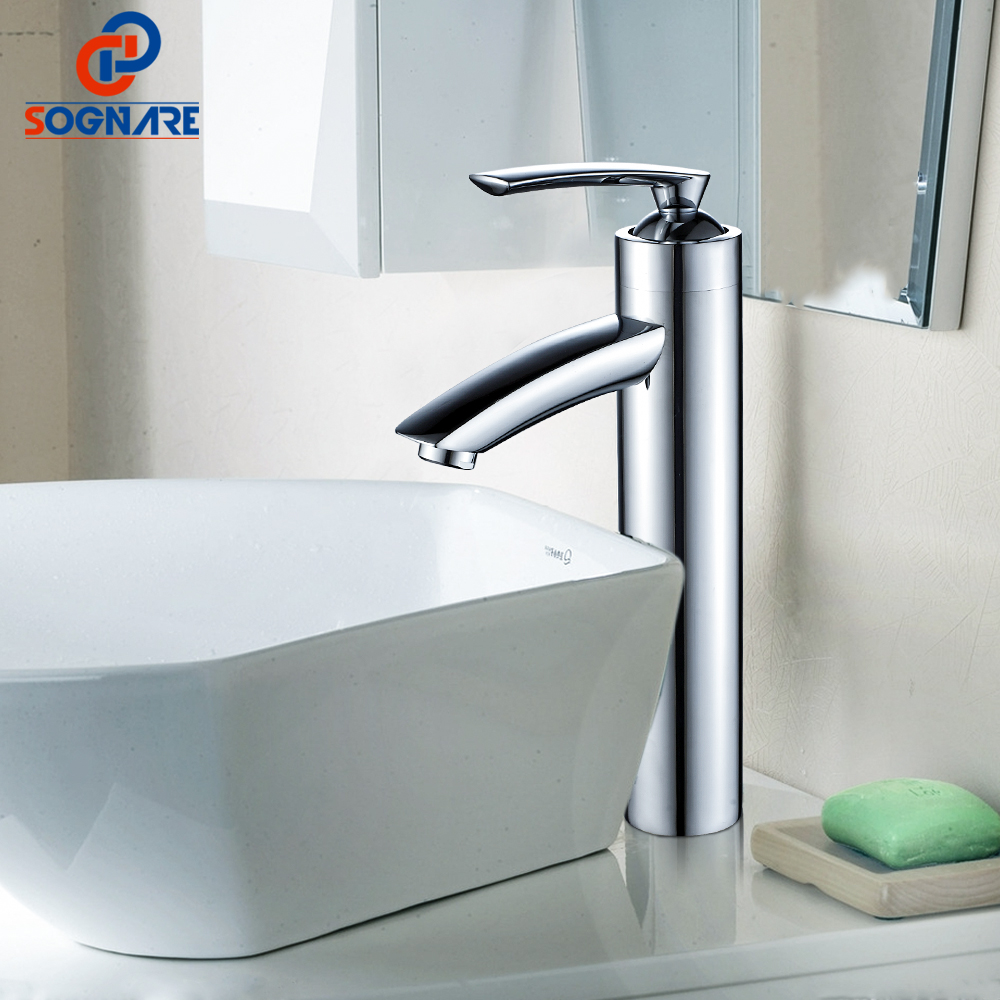 SOGNARE Chrome Bathroom Basin Sink Faucet Cold and Hot Bathroom Vanity Hot and Cold Water Tall Faucets Solid Brass Basin Faucets sognare chrome bathroom basin sink faucet cold and hot water taps bathroom vanity sink mixer brass deck mounted basin faucets