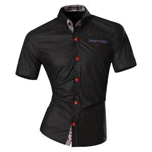 Image 2 - Jeansian hommes été mode lignes dornementation géométrique décontracté coupe ajustée à manches courtes mâle Simple couleurs chemise Z026