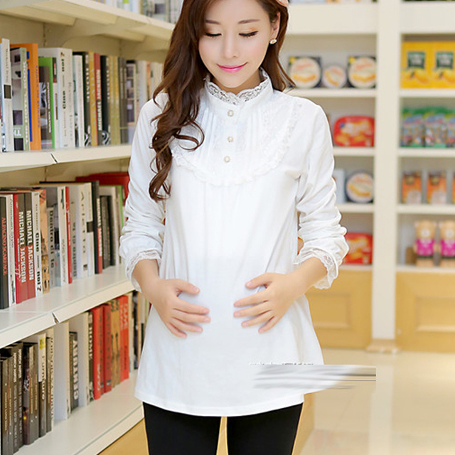одежда для беременных Беременные женщины хлопчатобумажная ткань куртка для беременных Solid White Cotton Tee Maternity Clothing Top Fashion Lace Maternity Basic Shirt Maternity Long-sleeve T-Shirt Maternity Clothes