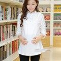 Sólido blanco de algodón camiseta clothing top moda de encaje de maternidad camisa básica de maternidad ropa de maternidad de maternidad de manga larga t-shirt