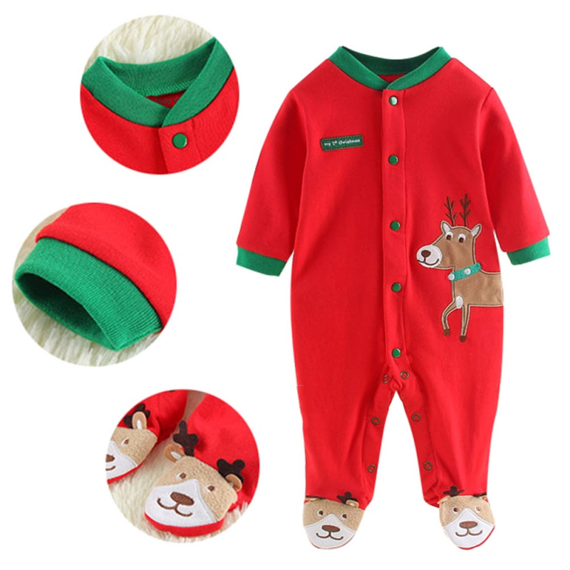 2018 Christmas Baby Boys G irls Footie Red My First Christmas Elk Footie Newborn Baby Long sleeves Holidays Clothing
