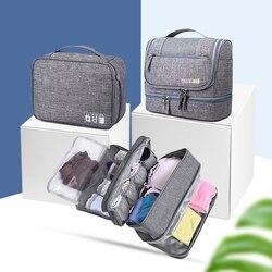 3 unids/set bolsas de cosméticos de viaje Cables digitales sujetador Underware neceser bolsa de almacenamiento set estuche organizador paquete Accesorios