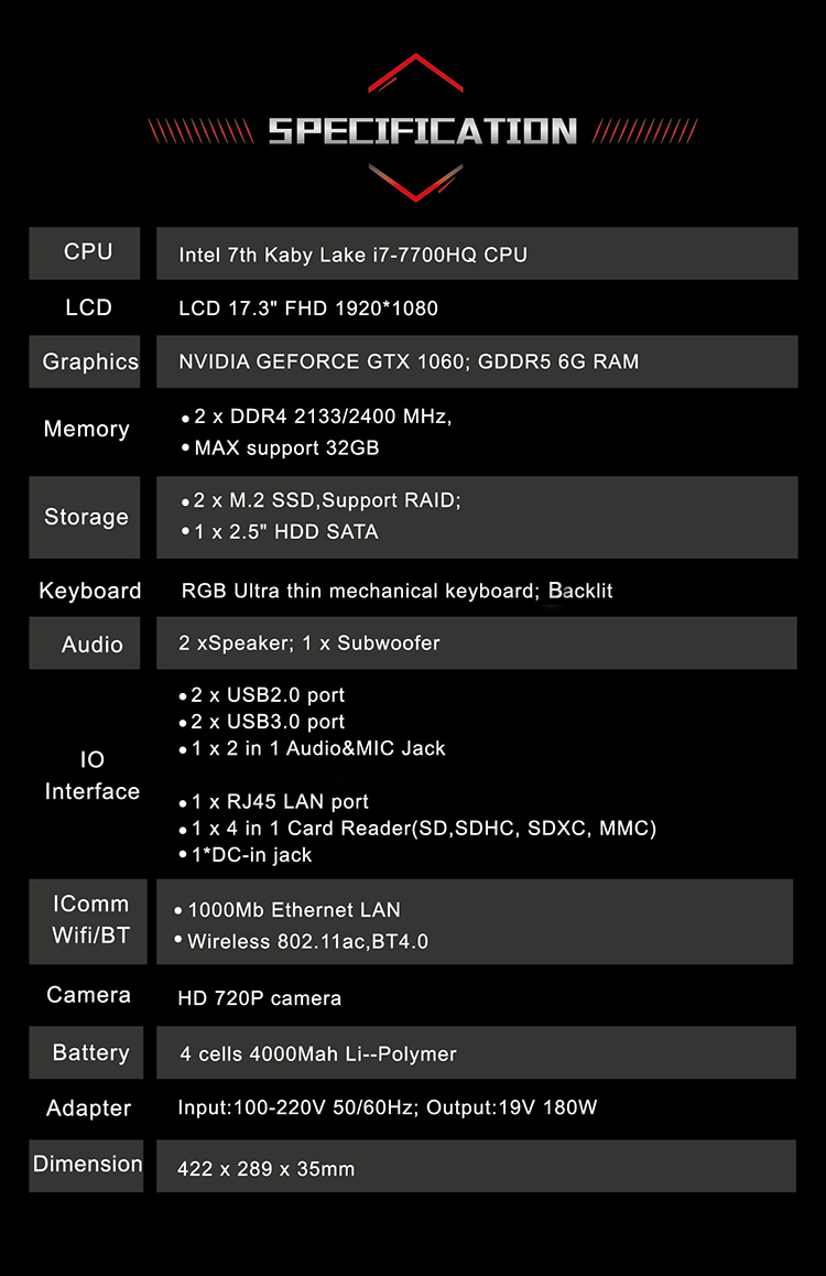 BBEN Laptop Gaming Computer Intel i7 7700HQ Kabylake GDDR5 NVIDIA GTX1060 Windows 10 RGB Mechanical Keyboard HD Camera Laptops