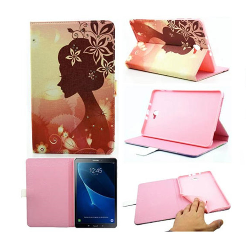 Fashion Printing Girl Flip PU Leather Case Tablet Stand Cover for Samsung Galaxy Tab A A6 10.1 2016 T580 T585 T580N T585C