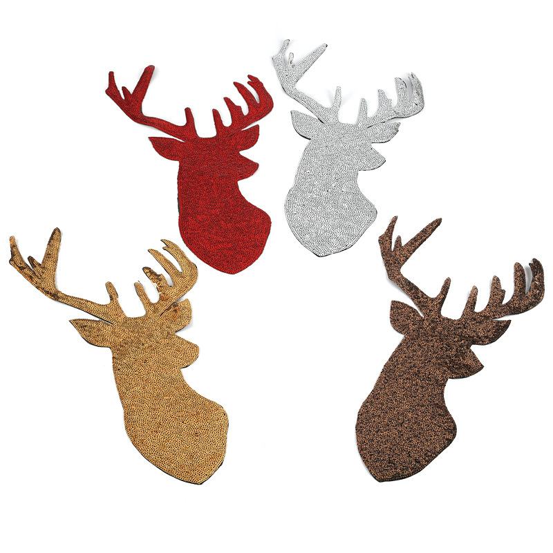 Christmas Decorations Elk Gold <font><b>Deer</b></font> Sequin Applique Embroidery <font><b>Patches</b></font> Fabric Stickers Badges For Clothes Sewing <font><b>Patch</b></font> image