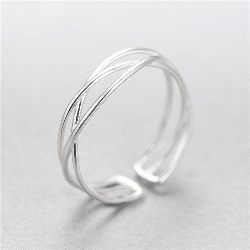 ROMAD Simple Line Finger Rings for Women S925 Sterling Silver Cross Line Adjustable Open Rings Female Charms Jewelry R4