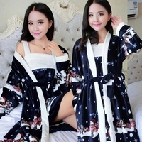 Bath Robe Women Winter Warm Coral Fleece Women's Bathrobe Nightgown Kimono Floral Dressing Gown Sleepwear Female Home Clothes