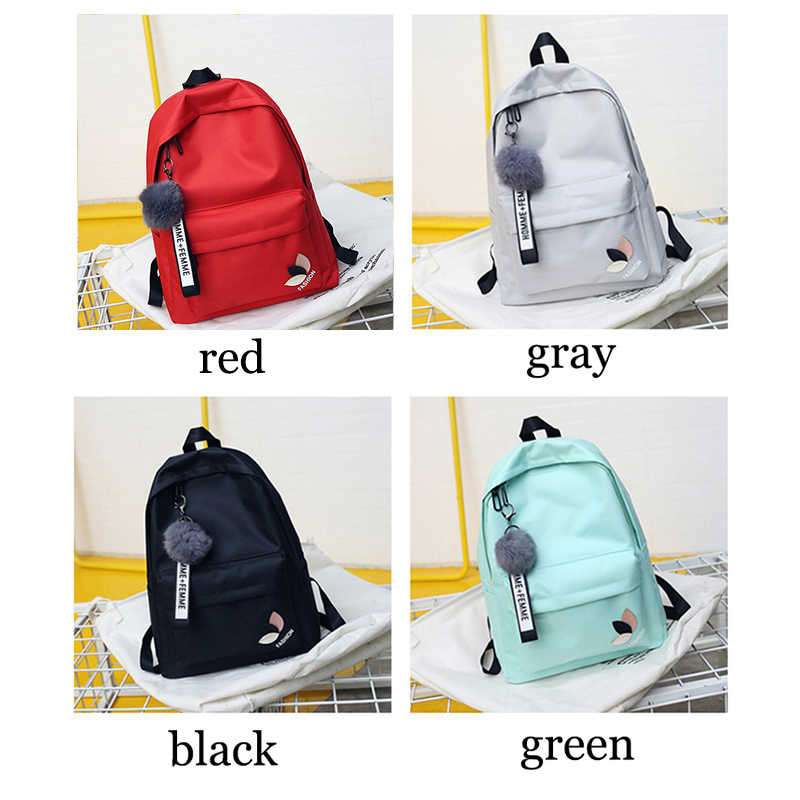 939e030516de ... Fashion fur ball girl backpack for women 2018 teenage schoolbag College  wind High school student nylon ...
