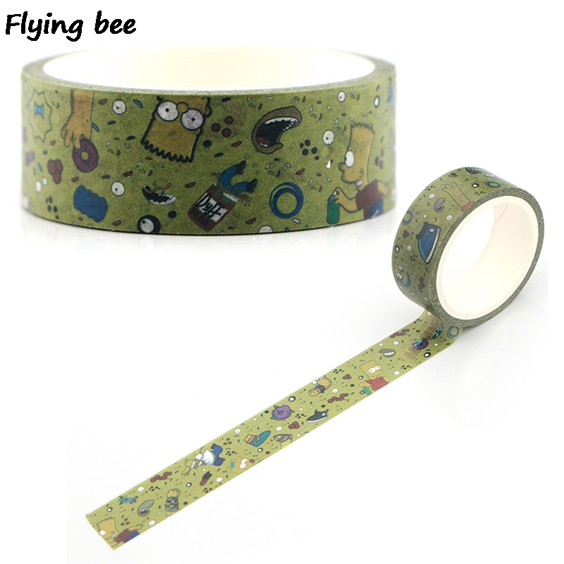 Flyingbee 15mmX5m Paper Washi Tape Cartoon Cute Funny Adhesive Tape Kids DIY Scrapbooking Sticker Masking Tape X0333