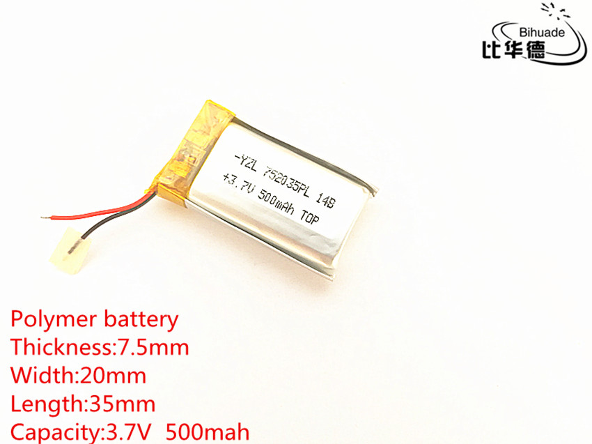 Free shipping 1pcs/lot Polymer battery <font><b>500</b></font> <font><b>mah</b></font> <font><b>3.7</b></font> <font><b>V</b></font> 752035 smart home Li-ion battery for dvr GPS mp3 mp4 image