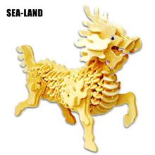 Diy Montessori Education Kids Toys Wooden 3D Puzzle For Children A Mythical Animal Kirin Challenge Wisdom Hobby Gift Adult