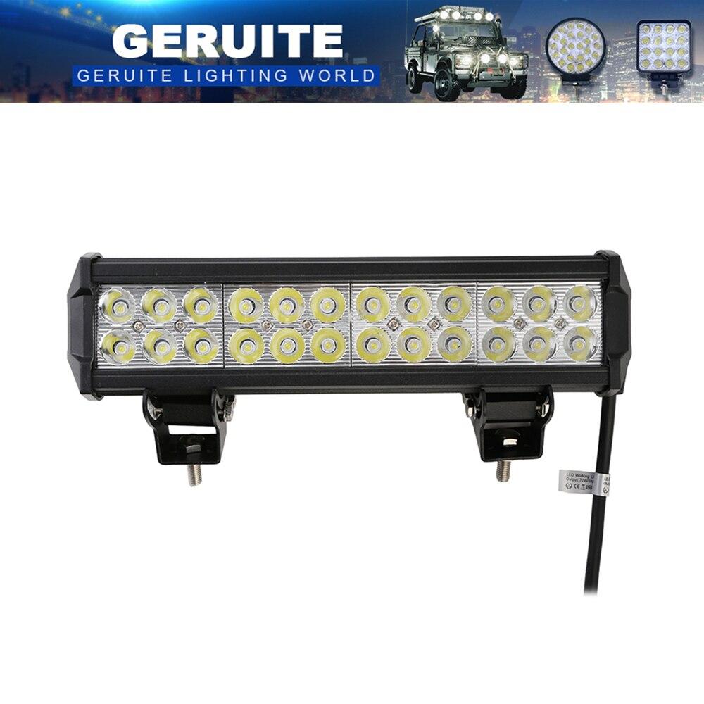 GERUITE 72W LED Arbeitslampe 7200LM Spotlight 12-24V Off Road Led Light Bar Autotransports 4x4 ATV autobusu priekšējie bufera lukturi