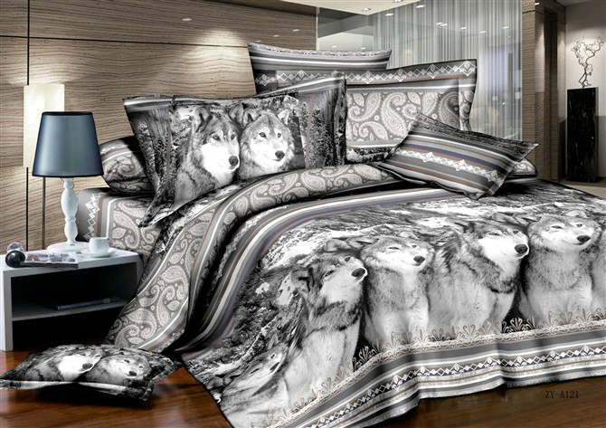 Wolf Bedding sets Black and White duvet cover quilt bed in bag sheet bedspread Queen size full bedsheet brushed Animal print in Bedding Sets from Home Garden