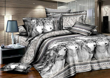 Wolf print black and white bedding set queen size comforter duvet cover quilt bed linen sheet bedspread bedsheet grey brushed