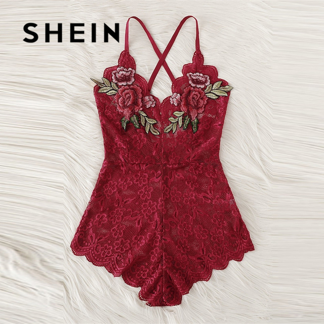 SHEIN Sexy Cross Appliques Lace Teddy Romper Hot Women V Neck Sleeveless Embroidery Intimate Appliques Lingerie Rompers Onesies 1