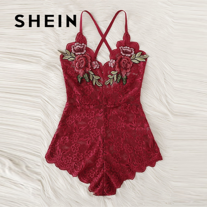 SHEIN Sexy Cross Appliques Lace Teddy Romper Hot Women V Neck Sleeveless Embroidery Intimate Appliques Lingerie Rompers Onesies