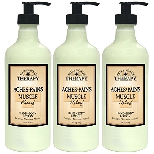 Village Naturals Therapy Muscle Relief Natural Lotion 16 fl oz (3-Pack) spirulina pacifica powder 16 oz multi pack