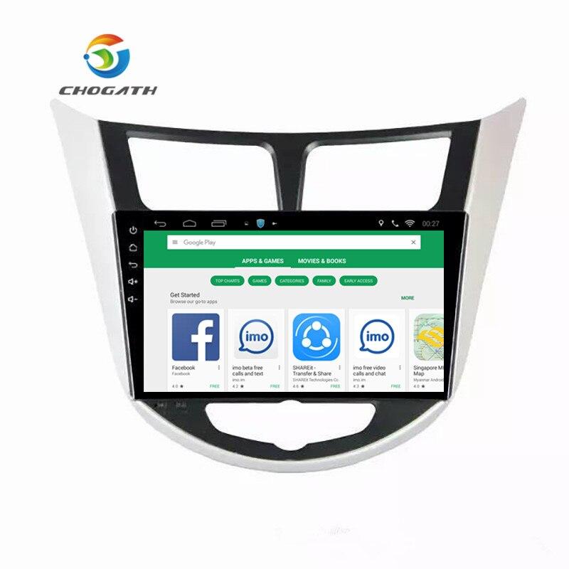 ChoGath 2 din Quad Core Android 9.0 Car Radio GPS Player for Hyundai Accent Verna Solaris Grand Avega 2012 2015 NO Canbus