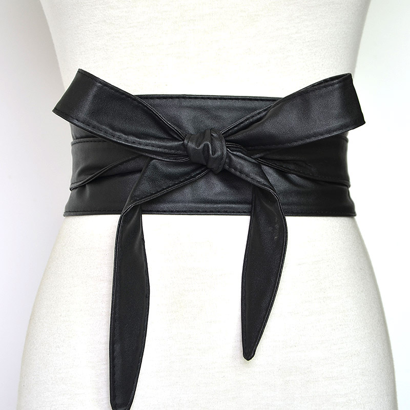 2020 Woman Black Red Fashion Pu Leather Obi Corset Belts  Wide High Waistband Bowknot Dress Waist Belt Cummerbunds
